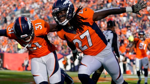 <p>               Denver Broncos cornerback Davontae Harris (27) celebrates with free safety Justin Simmons (31) after breaking up a pass in the end zone during the first half of NFL football game against the Cleveland Browns, Sunday, Nov. 3, 2019, in Denver. (AP Photo/Jack Dempsey)             </p>