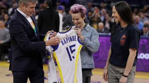 <p>               Golden State Warriors CEO Rick Welts, left, presents jerseys to soccer player Megan Rapinoe (15) and basketball player Sue Bird, right, during the first half of the Warriors' NBA basketball game against the Phoenix Suns on Wednesday, Oct. 30, 2019, in San Francisco. (AP Photo/Ben Margot)             </p>