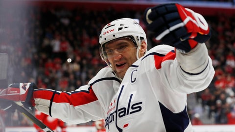 <p>               Washington Capitals left wing Alex Ovechkin celebrates the goal of right wing Tom Wilson during the third period of the team's NHL hockey game against the Detroit Red Wings, Saturday, Nov. 30, 2019, in Detroit. (AP Photo/Carlos Osorio)             </p>