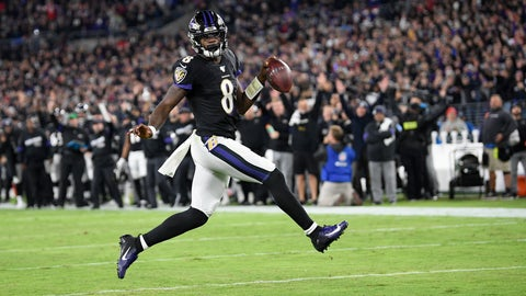 <p>               Baltimore Ravens quarterback Lamar Jackson scores on a run against the New England Patriots during the first half of an NFL football game, Sunday, Nov. 3, 2019, in Baltimore. (AP Photo/Nick Wass)             </p>