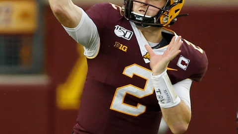 <p>               FILE - In this Oct. 5, 2019, file photo, Minnesota quarterback Tanner Morgan (2) passes against Illinois in the second half of an NCAA college football game, in Minneapolis. Penn State (8-0) plays against Minnesota (8-0)  on Saturday, Nov. 9. (AP Photo/Bruce Kluckhohn, File)             </p>