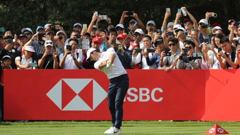 <p>               Rory McIlroy of Northern Ireland tees off on the final day of the HSBC Champions golf tournament at the Sheshan International Golf Club in Shanghai on Sunday, Nov. 3, 2019. (AP Photo/Ng Han Guan)             </p>