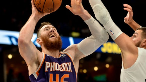 <p>               Phoenix Suns center Aron Baynes (46) shoots against Memphis Grizzlies center Jonas Valanciunas, right, in the second half of an NBA basketball game Saturday, Nov. 2, 2019, in Memphis, Tenn. (AP Photo/Brandon Dill)             </p>