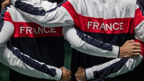 <p>               France players stand during the national anthem before the Davis Cup tennis match between Jo-Wilfried Tsonga and Serbia's Filip Krajinovic in Madrid, Spain, Thursday, Nov. 21, 2019. (AP Photo/Bernat Armangue)             </p>