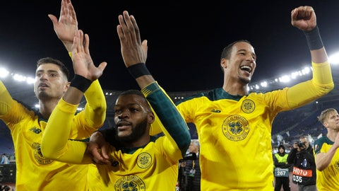 <p>               Celtic's Olivier Ntcham, center, celebrates with teammate after scoring his side's winning goal during an Europa League group E soccer match between Lazio and Celtic, in Rome's Olympic Stadium, Thursday, Nov. 7, 2019. Celtics won 2-1. (AP Photo/Gregorio Borgia)             </p>