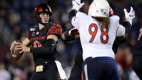 <p>               San Diego State quarterback Ryan Agnew (9) looks to pass while pressured by Fresno State defensive tackle Keiti Iakopo (98) during the first half of the NCAA college football game Friday, Nov. 15, 2019, in San Diego. (AP Photo/Orlando Ramirez)             </p>