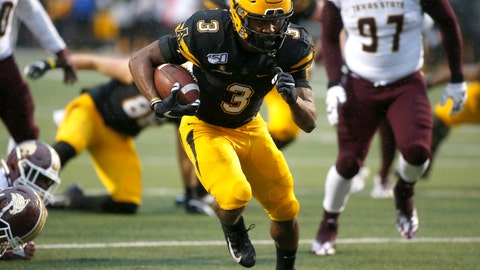 <p>               Appalachian State running back Darrynton Evans (3) runs for a touchdown during the second half of an NCAA college football game against Texas State Saturday, Nov. 23, 2019, in Boone, N.C. (AP Photo/Brian Blanco)             </p>