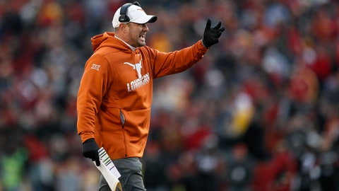 <p>               Texas head coach Tom Herman questions a call against his team during the first half of an NCAA college football game against Iowa State, Saturday, Nov. 16, 2019, in Ames, Iowa. Iowa State won 23-21. (AP Photo/Charlie Neibergall)             </p>