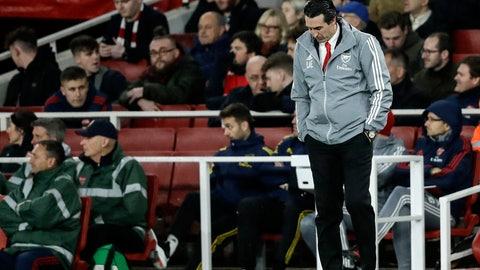 <p>               Arsenal's head coach Unai Emery reacts during the Europa League Group F soccer match between Arsenal and Eintracht Frankfurt at the Emirates Stadium, in London, Thursday, Nov. 28, 2019. (AP Photo/Matt Dunham)             </p>
