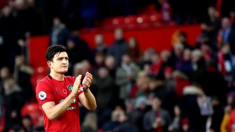 <p>               Manchester United's Harry Maguire applauds to supporters at the end of the English Premier League soccer match between Manchester United and Brighton and Hove Albion, at the Old Trafford stadium in Manchester, England, Sunday, Nov. 10, 2019. (AP Photo/Rui Vieira)             </p>