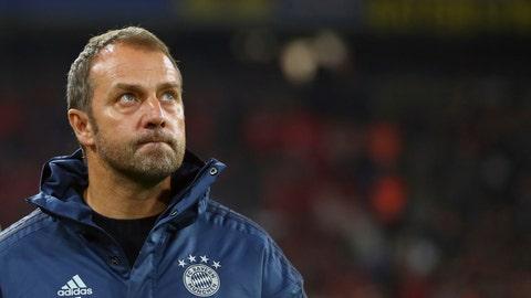 <p>               Bayern's interim coach Hansi Flick looks on during warm up before the German Bundesliga soccer match between FC Bayern Munich and Borussia Dortmund, in Munich, Germany, Saturday, Nov. 9, 2019. (AP Photo/Matthias Schrader)             </p>
