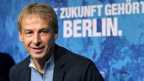 <p>               Juergen Klinsmann speaks during a press conference of German first division, Bundesliga, soccer team Hertha BSC Berlin in Berlin, Germany, Wednesday, Nov. 27, 2019. Klinsmann has been named the new coach of soccer club Hertha BSC Berlin after Ante Covic was fired with the team 15th in the German Bundesliga. Slogan in the background reads: 'The Future Belongs To Berlin'. (AP Photo/Michael Sohn)             </p>