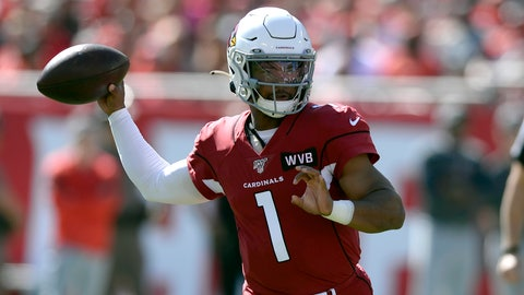 <p>               Arizona Cardinals quarterback Kyler Murray (1) throws a pass against the Tampa Bay Buccaneers during the first half of an NFL football game Sunday, Nov. 10, 2019, in Tampa, Fla. (AP Photo/Jason Behnken)             </p>