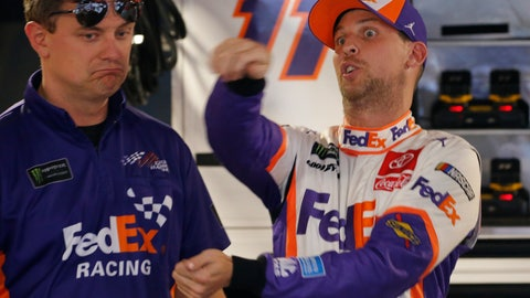 <p>               Denny Hamlin, right, talks to his crew chief, Chris Gabehart, after qualifying for the NASCAR Cup Series race at Martinsville Speedway in Martinsville, Va., Saturday, Oct. 26, 2019. Hamlin won the pole. (AP Photo/Steve Helber)             </p>