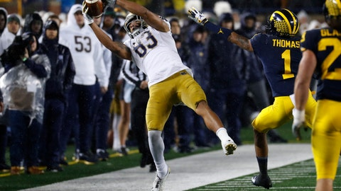 <p>               Notre Dame wide receiver Chase Claypool (83) catches a pass against Michigan in the first half of an NCAA college football game in Ann Arbor, Mich., Saturday, Oct. 26, 2019. (AP Photo/Paul Sancya)             </p>