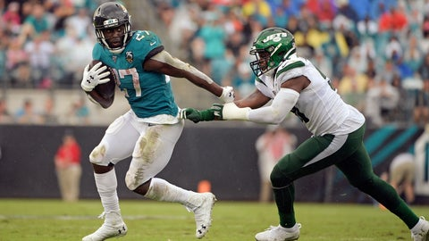 <p>               Jacksonville Jaguars running back Leonard Fournette (27) escapes a tackle by New York Jets outside linebacker Brandon Copeland, right, during the first half of an NFL football game, Sunday, Oct. 27, 2019, in Jacksonville, Fla. (AP Photo/Phelan M. Ebenhack)             </p>