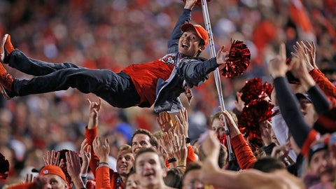 <p>               Utah fans celebrate a fumble recovery and touchdown during the first half of the team's NCAA college football game against Utah on Saturday, Nov. 16, 2019, in Salt Lake City. (AP Photo/Rick Bowmer)             </p>