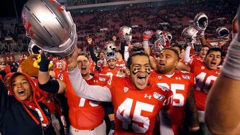 <p>               Utah wide receiver Samson Nacua (45) celebrates with his teammates after their victory over Colorado during an NCAA college football game Saturday, Nov. 30, 2019, in Salt Lake City. (AP Photo/Rick Bowmer)             </p>