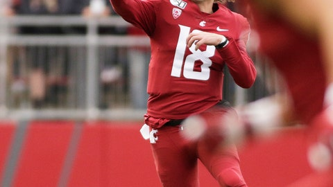 <p>               Washington State quarterback Anthony Gordon (18) throws a pass during the first half of an NCAA college football game against Stanford in Pullman, Wash., Saturday, Nov. 16, 2019. (AP Photo/Young Kwak)             </p>