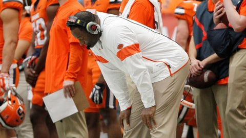 <p>               Syracuse head coach Dino Babers reacts on the sidelines in the fourth quarter of an NCAA college football game against Boston College in Syracuse, N.Y., Saturday, Nov. 2, 2019. Boston College won 58-27. (AP Photo/Nick Lisi)             </p>