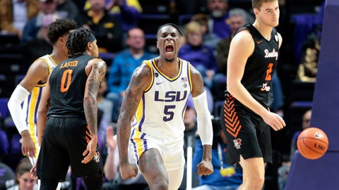 <p>               LSU forward Emmitt Williams (5) reacts after scoring against Bowling Green during second half action in an NCAA college basketball game in Baton Rouge, La., Friday, Nov. 8, 2019. (AP Photo/Brett Duke)             </p>