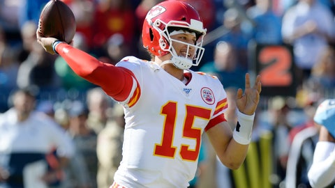 <p>               Kansas City Chiefs quarterback Patrick Mahomes passes against the Tennessee Titans in the first half of an NFL football game Sunday, Nov. 10, 2019, in Nashville, Tenn. (AP Photo/Mark Zaleski)             </p>