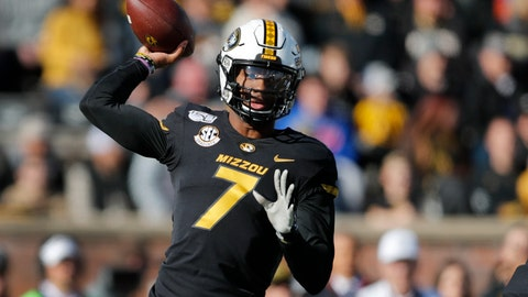 <p>               Missouri quarterback Kelly Bryant throws during the first half of an NCAA college football game against Florida, Saturday, Nov. 16, 2019, in Columbia, Mo. (AP Photo/Jeff Roberson)             </p>