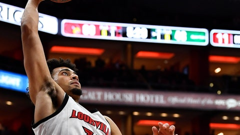 <p>               Louisville forward Jordan Nwora (33) goes up for a layup during the second half of an NCAA college basketball game against South carolina Upstate in Louisville, Ky., Wednesday, Nov. 20, 2019. Louisville won 76-50. (AP Photo/Timothy D. Easley)             </p>