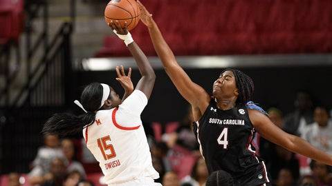 <p>               South Carolina forward Aliyah Boston (4) blocks a shot by Maryland guard Ashley Owusu (15) during the first half of an NCAA college basketball game, Sunday, Nov. 10, 2019, in College Park, Md. (AP Photo/Nick Wass)             </p>