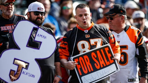 <p>               Fans jeer in the stands during the first half of NFL football game between the Cincinnati Bengals and the Baltimore Ravens, Sunday, Nov. 10, 2019, in Cincinnati. (AP Photo/Gary Landers)             </p>