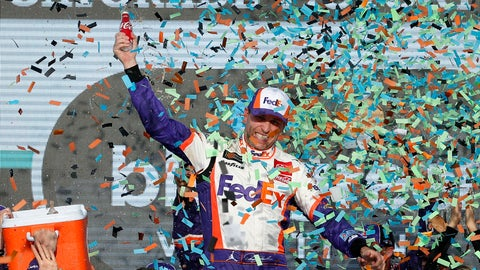 <p>               Denny Hamlin celebrates in Victory Lane after winning the NASCAR Cup Series auto race Sunday, Nov. 10, 2019, in Avondale, Ariz. (AP Photo/Ralph Freso)             </p>