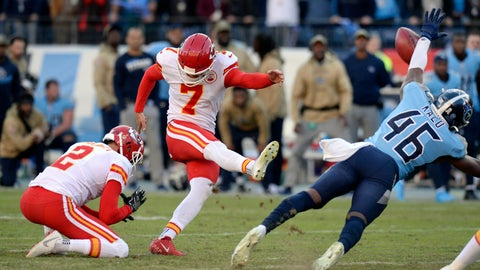 <p>               Tennessee Titans defensive back Joshua Kalu (46) blocks a 52-yard field goal attempt by Kansas City Chiefs kicker Harrison Butker (7) on the final play of an NFL football game Sunday, Nov. 10, 2019, in Nashville, Tenn. The Titans won 35-32. (AP Photo/Mark Zaleski)             </p>