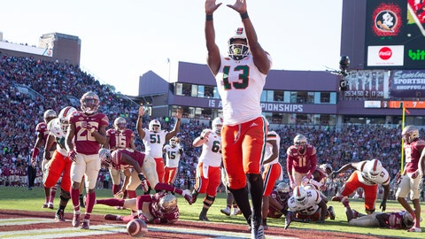 <p>               Miami running back DeeJay Dallas (13) celebrates his score against Florida State in the first half of an NCAA college football game in Tallahassee, Fla., Saturday, Nov. 2, 2019. (AP Photo/Mark Wallheiser)             </p>