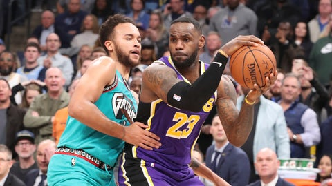 <p>               Memphis Grizzlies' Kyle Anderson (1) defends Los Angeles Lakers' LeBron James (23) in the second half of an NBA basketball game Saturday, Nov. 23, 2019, in Memphis, Tenn. (AP Photo/Karen Pulfer Focht)             </p>