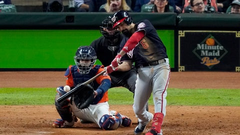 <p>               Washington Nationals' Anthony Rendon hits a home run against the Houston Astros during the seventh inning of Game 7 of the baseball World Series Wednesday, Oct. 30, 2019, in Houston. (AP Photo/Eric Gay)             </p>