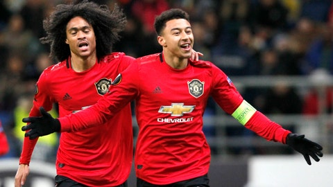 <p>               Manchester United's Jesse Lindgard, right, celebrates with teammate Manchester United's Tahith Chong after scoring his side's opening goal during the Europa League Group L soccer match between Astana and Manchester United in Astana, Kazakhstan, Thursday, Nov. 28, 2019. (AP Photo/Stas Filippov)             </p>
