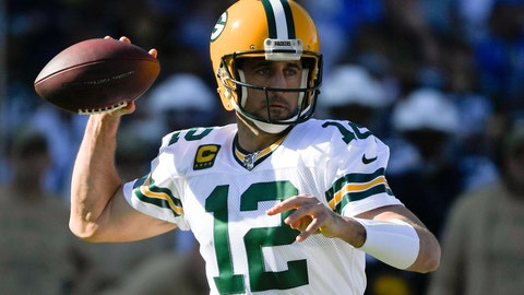 <p>               Green Bay Packers quarterback Aaron Rodgers passes against the Los Angeles Chargers during the first half of an NFL football game Sunday, Nov. 3, 2019, in Carson, Calif. (AP Photo/Mark J. Terrill)             </p>