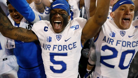 <p>               Air Force quarterback Donald Hammond III, left, and wide receiver Benjamin Waters lead teammates in a celebration after singing the school song after the second half of an NCAA college football game against Utah State Saturday, Oct. 26, 2019, at Air Force Academy, Colo. Air Force won 31-7. (AP Photo/David Zalubowski)             </p>