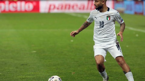 <p>               Italy's Lorenzo Insigne controls the ball during the Euro 2020 group J qualifying soccer match between Bosnia-Herzegovina and Italy at the Bilino polje stadium in Zenica, Bosnia, Friday, Nov. 15, 2019. (AP Photo/Kemal Softic)             </p>