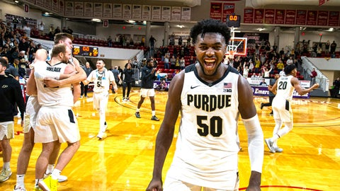 <p>               Purdue forward Trevion Williams (50) celebrates the team's 59-56 win over Virginia Commonwealth in an NCAA college basketball game at the Emerald Coast Classic in Niceville, Fla., early Saturday, Nov. 30, 2019. (AP Photo/Mark Wallheiser)             </p>