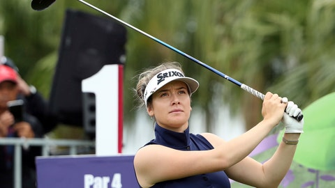 <p>               Hannah Green of Australia watches her tee shot on the first hole during the first round of the Taiwan Swinging Skirts LPGA at the Miramar Golf Country Club in New Taipei City, Taiwan, Thursday, Oct. 31, 2019. (AP Photo/Chiang Ying-ying)             </p>