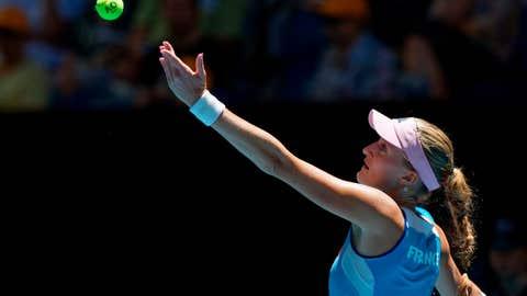 <p>               France's Kristina Mladenovic prepares to serve to Australia's Ajla Tomljanovic during their Fed Cup tennis final in Perth, Australia, Saturday, Nov. 9, 2019. (AP Photo/Trevor Collens)             </p>