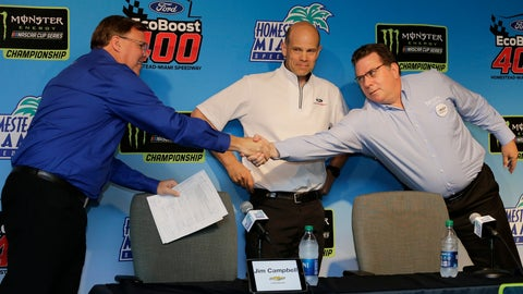<p>               Manufacturers representatives, from left, Jim Campbell for Chevrolet, Mark Rushbrook for Ford, and Ed Laukes for Toyota, shake hands after a press conference before practice for a NASCAR Cup Series auto race on Saturday, Nov. 16, 2019, at Homestead-Miami Speedway in Homestead, Fla. (AP Photo/Terry Renna)             </p>