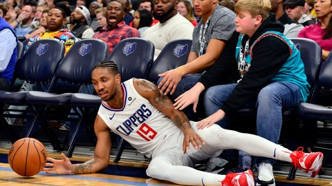 <p>               Los Angeles Clippers guard Rodney McGruder (19) falls to the court during the first half of the team's NBA basketball game against the Memphis Grizzlies on Wednesday, Nov. 27, 2019, in Memphis, Tenn. (AP Photo/Brandon Dill)             </p>