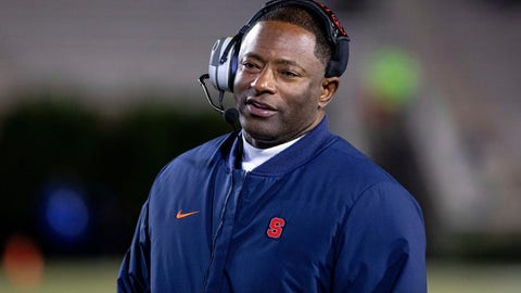 <p>               File-This Nov. 16, 2019, file photo shows Syracuse Head Coach Dino Babers smiling on the sideline during an NCAA college football game against Duke in Durham, N.C.Syracuse has a terrific 1-2 punch in punter Sterling Hofrichter and place-kicker Andre Szmyt. Together they've helped the Orange excel on special teams for a second straight season. Hofrichter has landed 93 of his 255 career punts inside the 20-yard line with only 13 touchbacks.  (AP Photo/Ben McKeown, File)             </p>