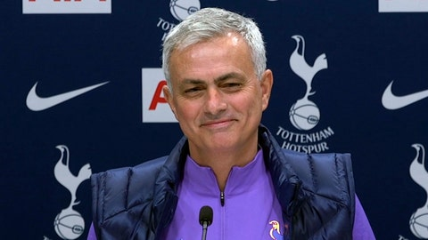 <p>               Image taken from PA Video showing newly appointed Tottenham Hotspur manager Jose Mourinho during a press conference at Tottenham Hotspur Training Centre, in London, Thursday Nov. 21, 2019.  Mourinho is back in the English Premier League management by joining Tottenham. (PA Video/PA via AP)             </p>