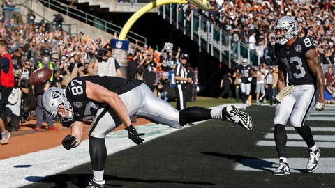 <p>               Oakland Raiders tight end Foster Moreau (87) celebrates after scoring a touchdown as tight end Darren Waller (83) looks on during the first half of an NFL football game against the Cincinnati Bengals in Oakland, Calif., Sunday, Nov. 17, 2019. (AP Photo/D. Ross Cameron)             </p>