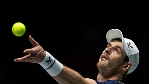 <p>               Great Britain's Andy Murray serves during the Davis Cup tennis match against Netherlands' Tallon Griekspoor in Madrid, Spain, Wednesday, Nov. 20, 2019. (AP Photo/Bernat Armangue)             </p>