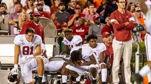 <p>               Alabama looks on after missing a field goal that would have tied an NCAA college football game against Auburn during the second half Saturday, Nov. 30, 2019, in Auburn, Ala. (AP Photo/Vasha Hunt)             </p>