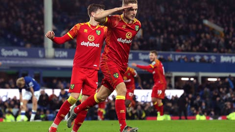 <p>               Norwich City's Dennis Srbeny celebrates scoring his side's second goal  during the English Premier League soccer match between Norwich City and Everton, at Goodison Park, Liverpool, England, Saturday, Nov. 23, 2019. (Richard Sellers/PA via AP)             </p>